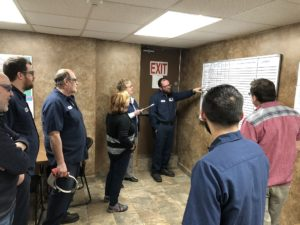 Gemba meeting for deep draw process at Prospect Machine Products