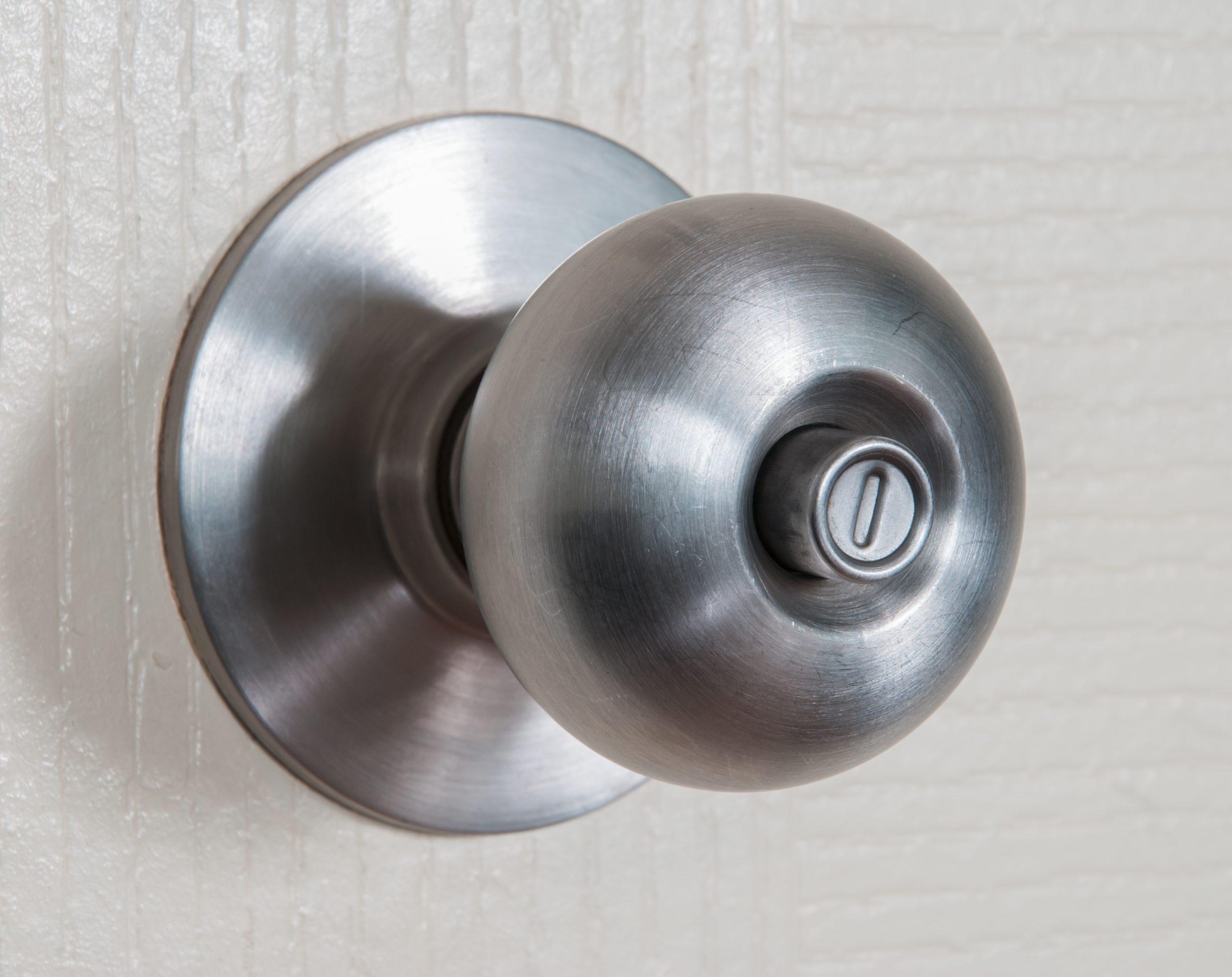 Close,Up,Shot,Of,Stainless,Steel,Round,Ball,Door,Knob