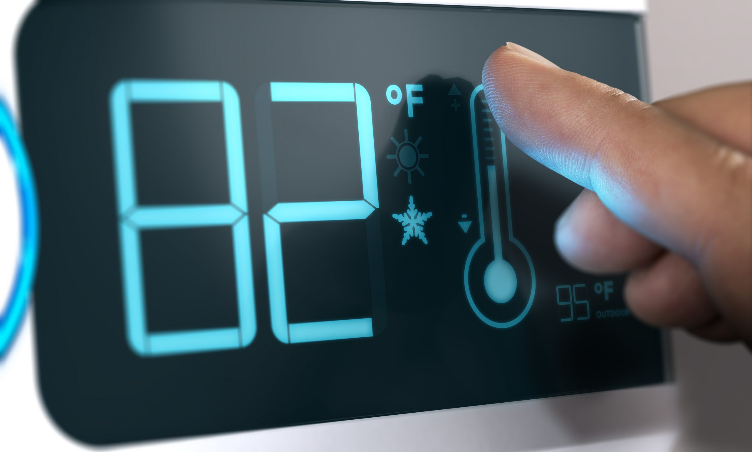 Finger,Touching,A,Digital,Thermostat,Temperature,Controller,To,Set,It